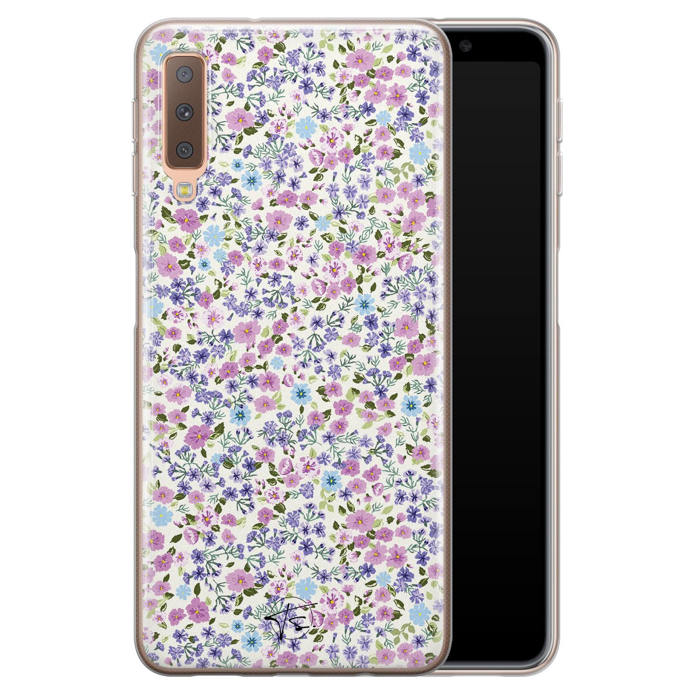 Telefoonhoesje Store Samsung Galaxy A7 2018 siliconen hoesje - Purple Garden