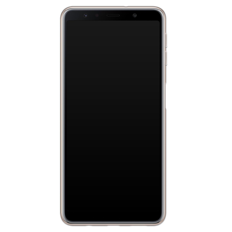 ELLECHIQ Samsung Galaxy A7 2018 siliconen hoesje - Marble Khaki Swirl
