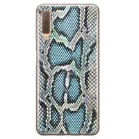 ELLECHIQ Samsung Galaxy A7 2018 siliconen hoesje - Baby Snake blue