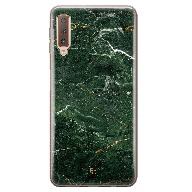 ELLECHIQ Samsung Galaxy A7 2018 siliconen hoesje - Marble jade green