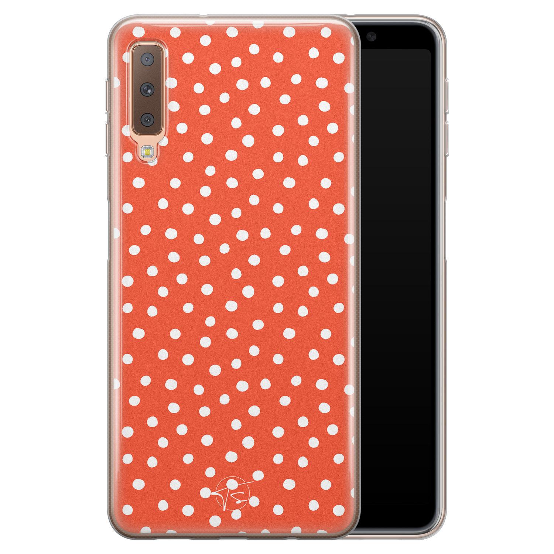 Telefoonhoesje Store Samsung Galaxy A7 2018 siliconen hoesje - Orange dots