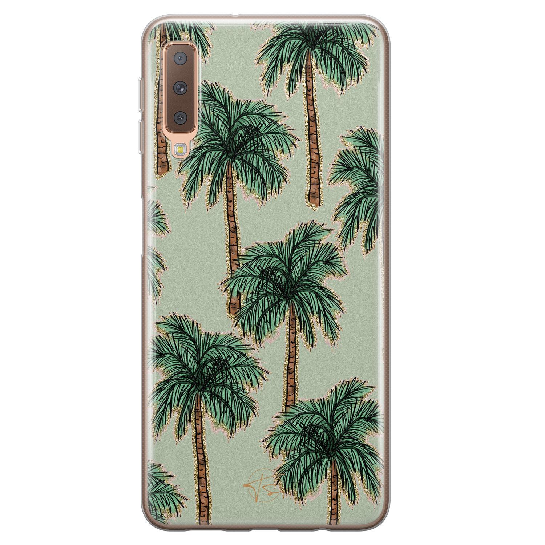 Telefoonhoesje Store Samsung Galaxy A7 2018 siliconen hoesje - Palmbomen