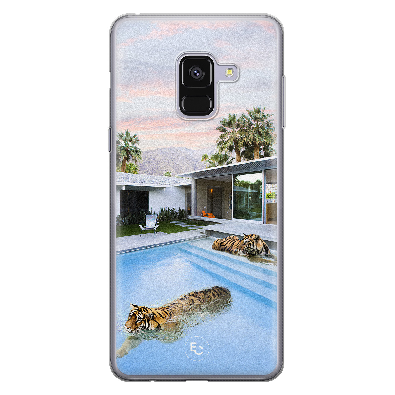 ELLECHIQ Samsung Galaxy A8 2018 siliconen hoesje - Tiger pool