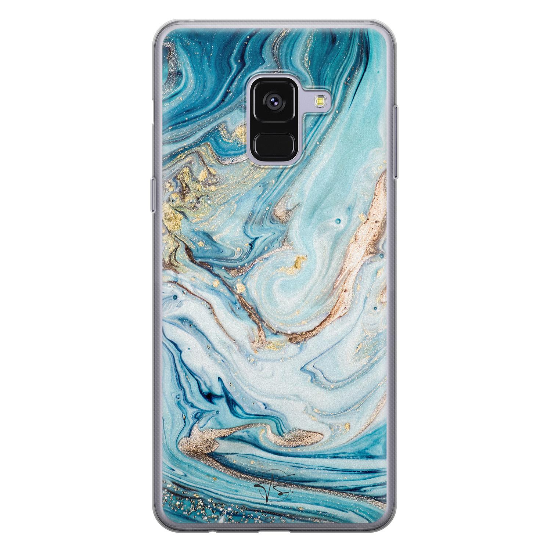 Telefoonhoesje Store Samsung Galaxy A8 2018 siliconen hoesje - Marmer blauw goud