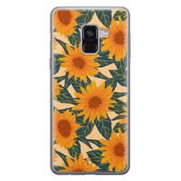 Telefoonhoesje Store Samsung Galaxy A8 2018 siliconen hoesje - Zonnebloemen