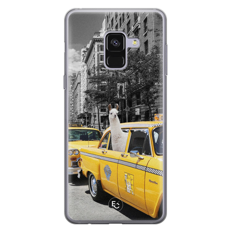 ELLECHIQ Samsung Galaxy A8 2018 siliconen hoesje - Lama in taxi