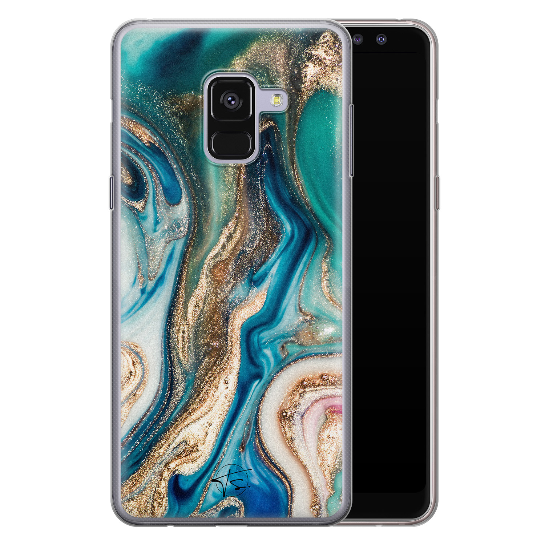 Telefoonhoesje Store Samsung Galaxy A8 2018 siliconen hoesje - Magic marble