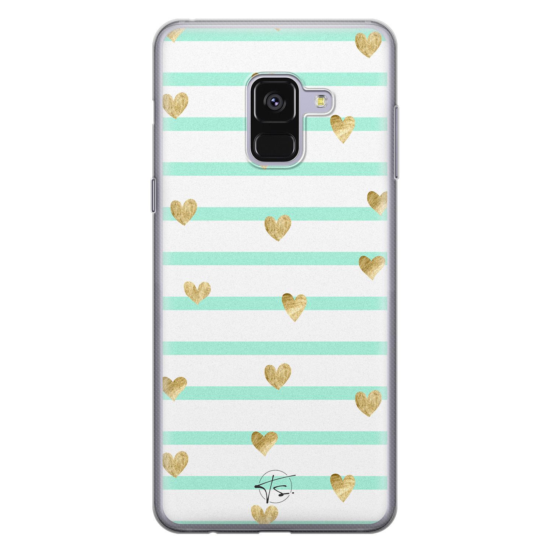 Telefoonhoesje Store Samsung Galaxy A8 2018 siliconen hoesje - Mint hartjes
