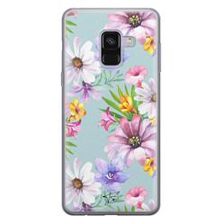 Telefoonhoesje Store Samsung Galaxy A8 2018 siliconen hoesje - Mint bloemen
