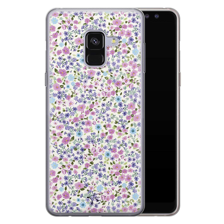 Telefoonhoesje Store Samsung Galaxy A8 2018 siliconen hoesje - Purple Garden