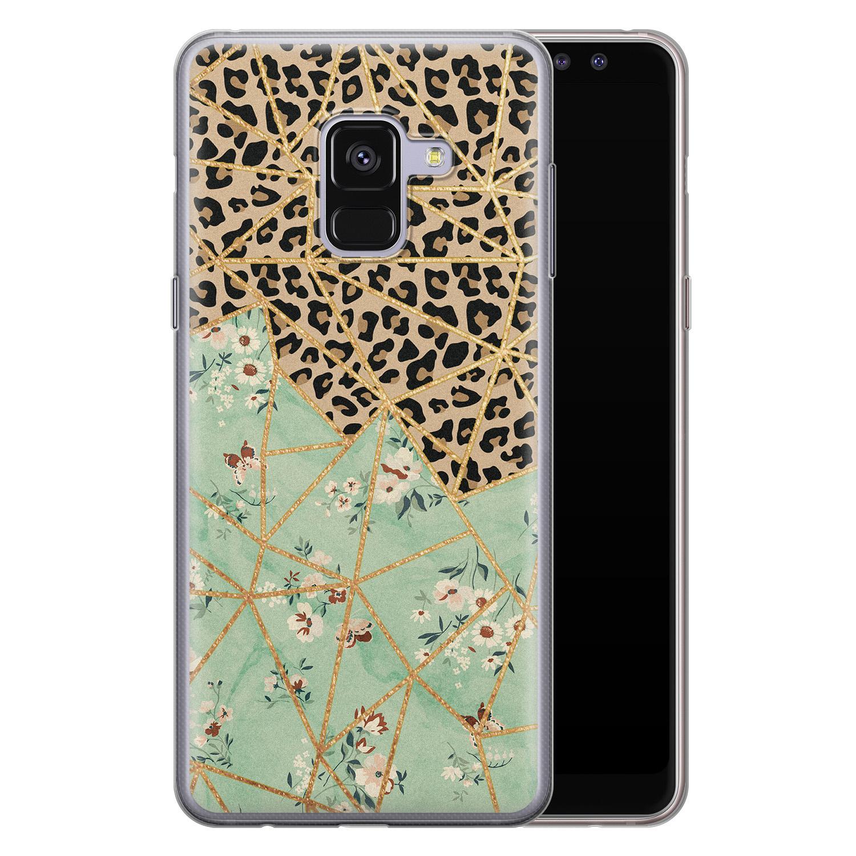 Leuke Telefoonhoesjes Samsung Galaxy A8 2018 siliconen hoesje - Luipaard flower print