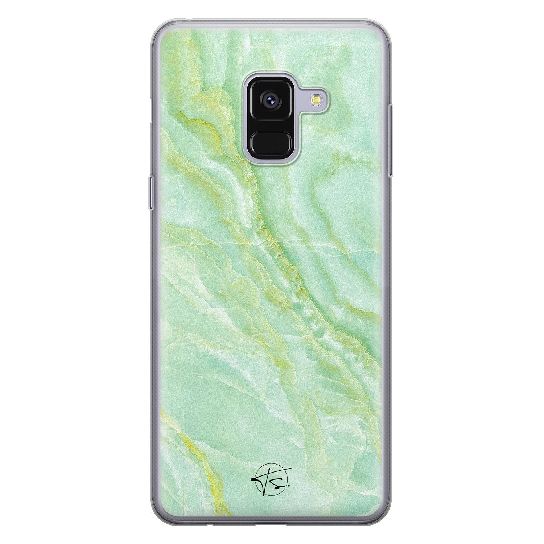 Telefoonhoesje Store Samsung Galaxy A8 2018 siliconen hoesje - Marmer Limegroen
