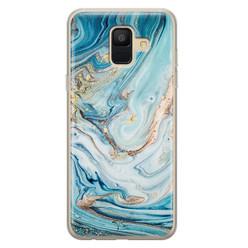 Telefoonhoesje Store Samsung Galaxy A6 2018 siliconen hoesje - Marmer blauw goud