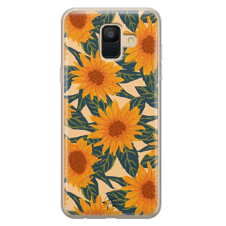 Telefoonhoesje Store Samsung Galaxy A6 2018 siliconen hoesje - Zonnebloemen