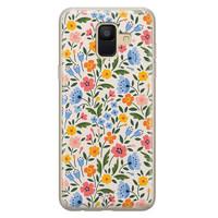Telefoonhoesje Store Samsung Galaxy A6 2018 siliconen hoesje - Romantische bloemen