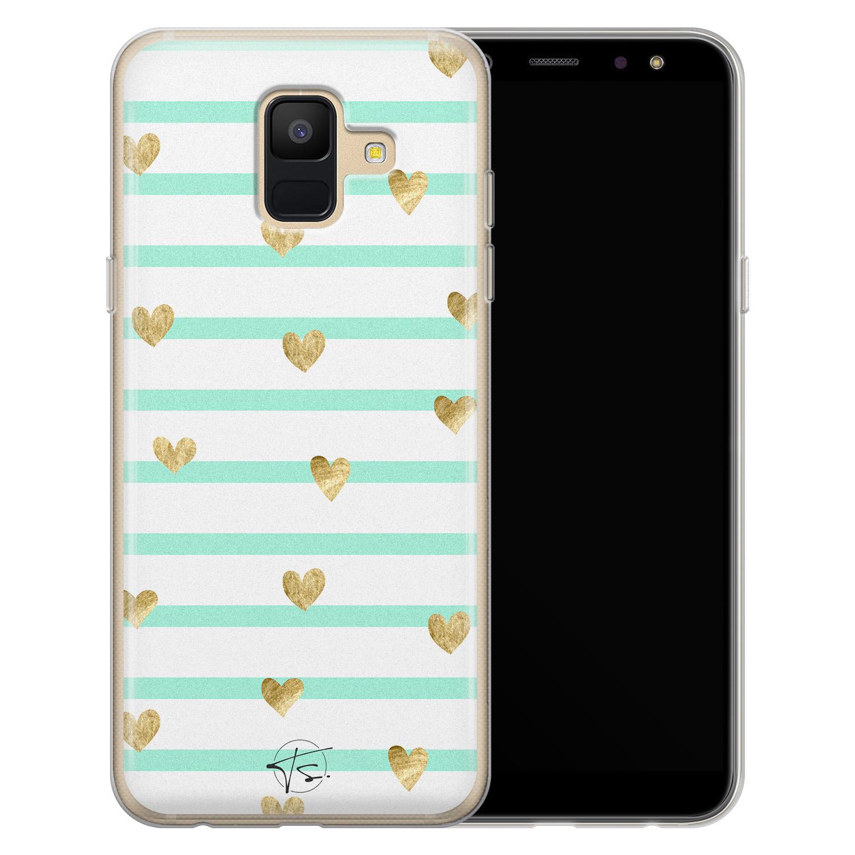 Telefoonhoesje Store Samsung Galaxy A6 2018 siliconen hoesje - Mint hartjes