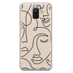 Leuke Telefoonhoesjes Samsung Galaxy A6 2018 siliconen hoesje - Abstract gezicht lijnen