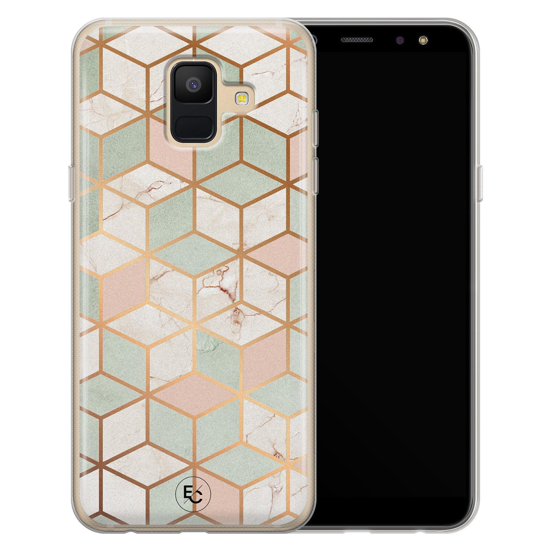 ELLECHIQ Samsung Galaxy A6 2018 siliconen hoesje - Pastel Kubus