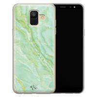 Telefoonhoesje Store Samsung Galaxy A6 2018 siliconen hoesje - Marmer Limegroen
