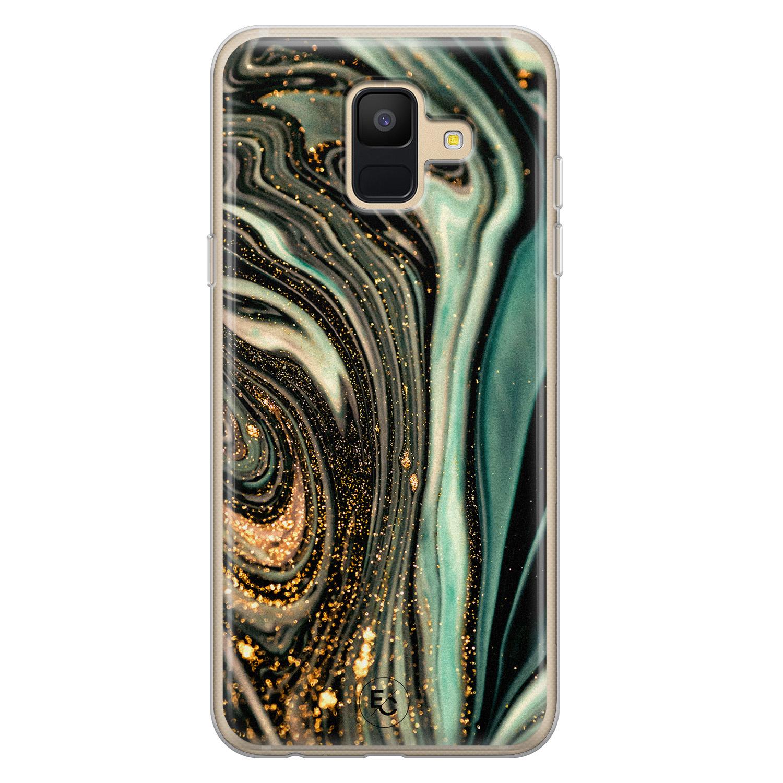 ELLECHIQ Samsung Galaxy A6 2018 siliconen hoesje - Marble Khaki Swirl