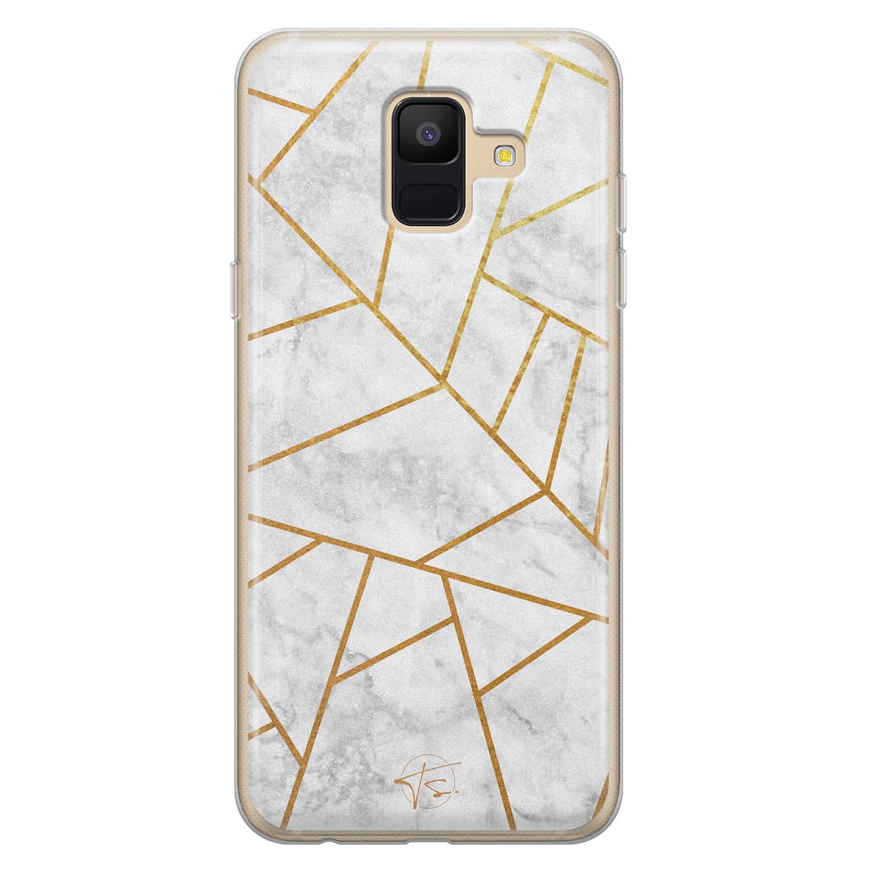 Telefoonhoesje Store Samsung Galaxy A6 2018 siliconen hoesje - Geometrisch marmer