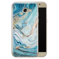 Telefoonhoesje Store Samsung Galaxy A5 2017 siliconen hoesje - Marmer blauw goud