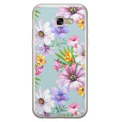 Telefoonhoesje Store Samsung Galaxy A5 2017 siliconen hoesje - Mint bloemen