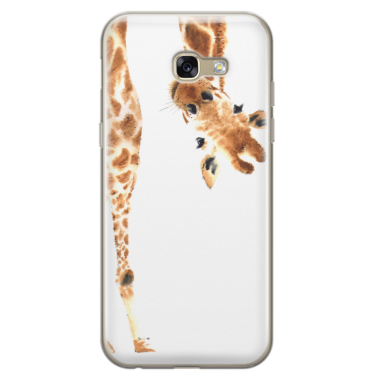 Leuke Telefoonhoesjes Samsung Galaxy A5 2017 siliconen hoesje - Giraffe peekaboo
