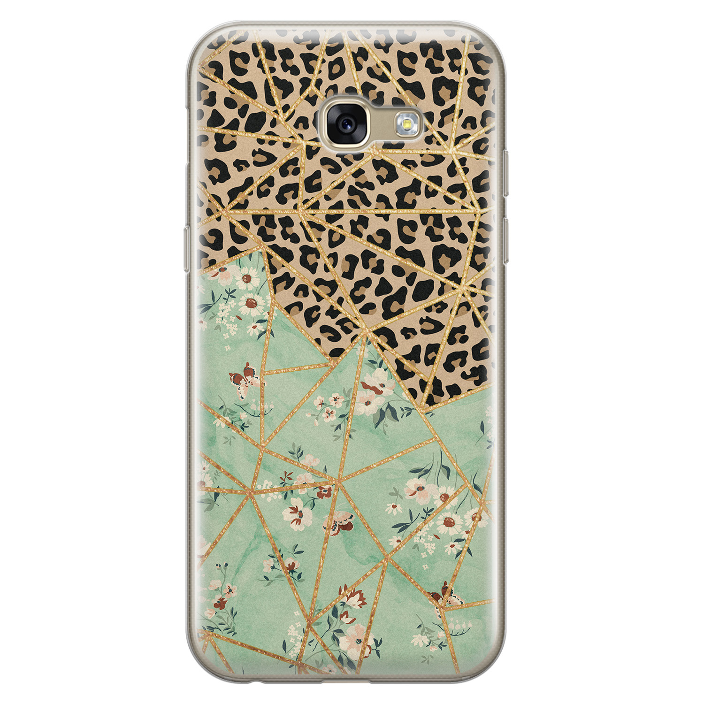 Leuke Telefoonhoesjes Samsung Galaxy A5 2017 siliconen hoesje - Luipaard flower print
