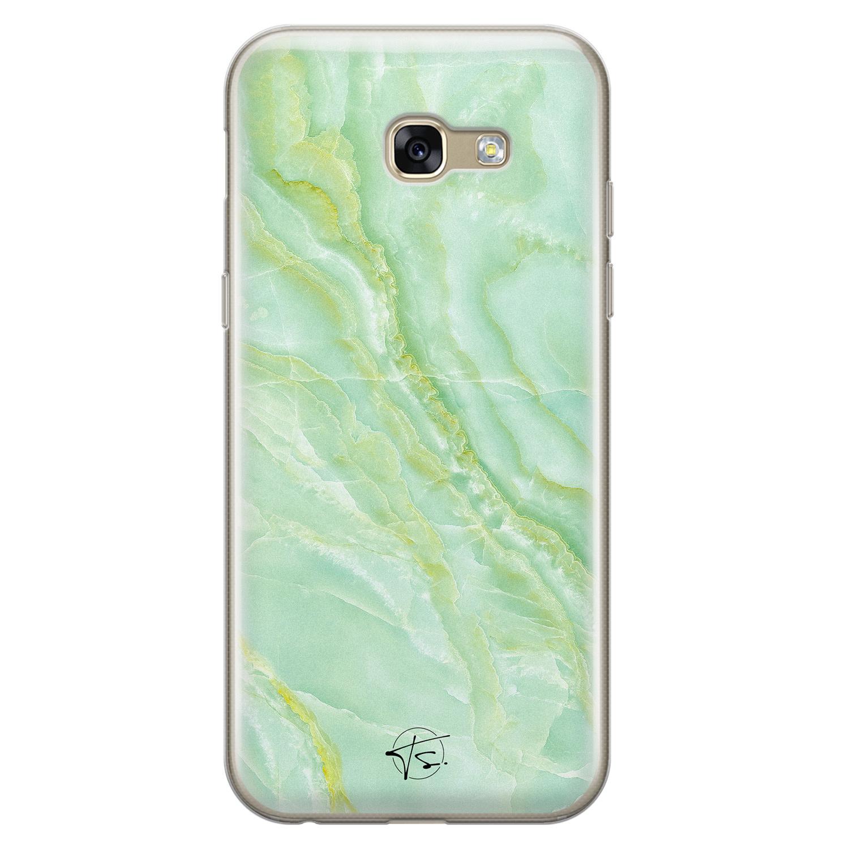 Telefoonhoesje Store Samsung Galaxy A5 2017 siliconen hoesje - Marmer Limegroen