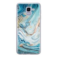 Telefoonhoesje Store Samsung Galaxy J6 2018 siliconen hoesje - Marmer blauw goud