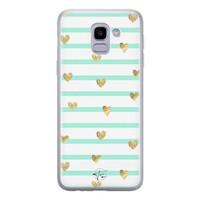 Telefoonhoesje Store Samsung Galaxy J6 2018 siliconen hoesje - Mint hartjes