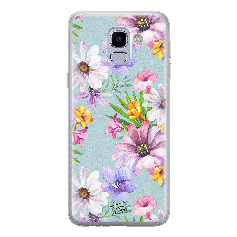 Telefoonhoesje Store Samsung Galaxy J6 2018 siliconen hoesje - Mint bloemen