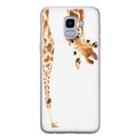 Leuke Telefoonhoesjes Samsung Galaxy J6 2018 siliconen hoesje - Giraffe peekaboo