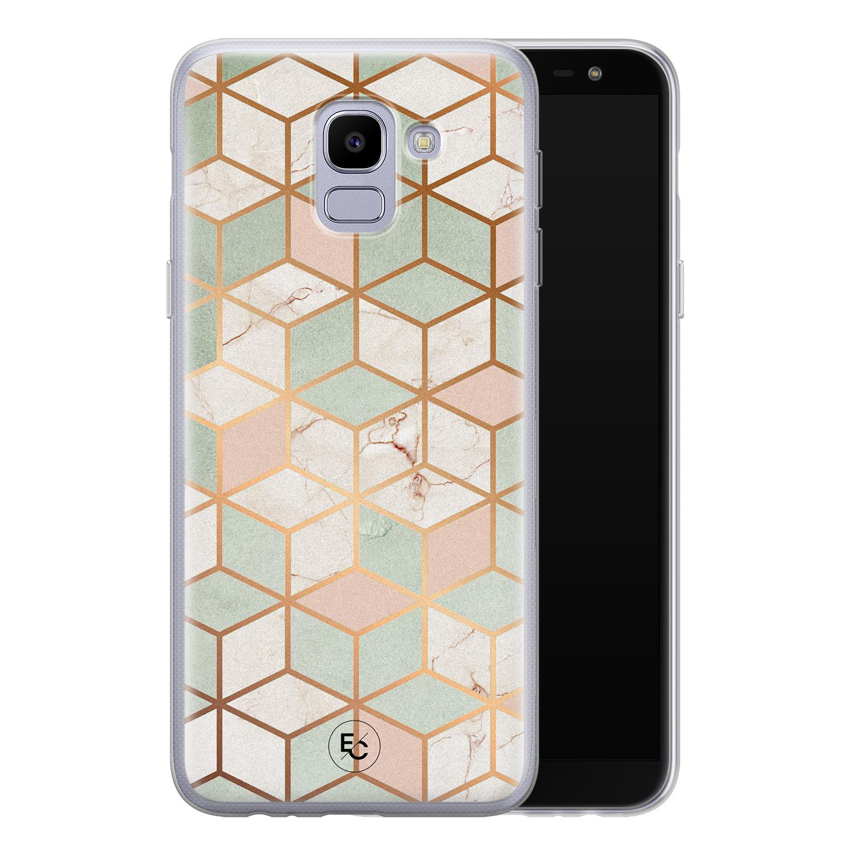 ELLECHIQ Samsung Galaxy J6 2018 siliconen hoesje - Pastel Kubus
