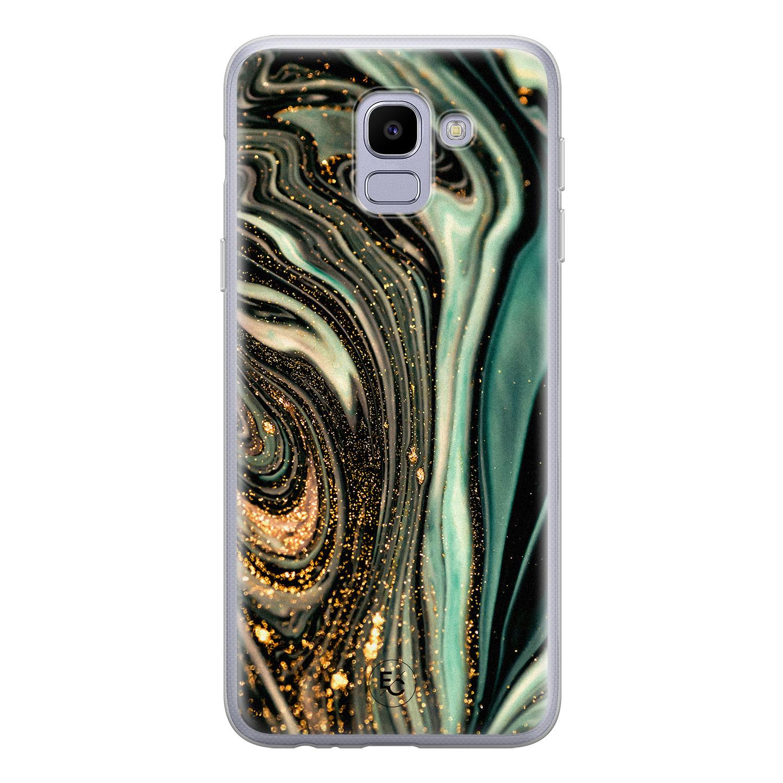 ELLECHIQ Samsung Galaxy J6 2018 siliconen hoesje - Marble Khaki Swirl