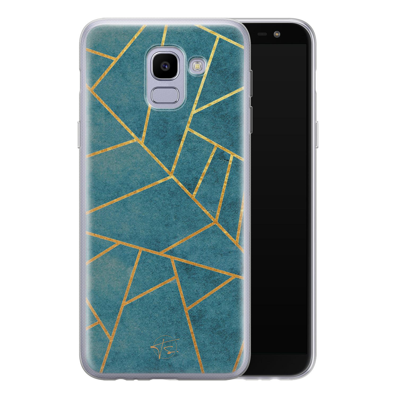 Telefoonhoesje Store Samsung Galaxy J6 2018 siliconen hoesje - Abstract blauw