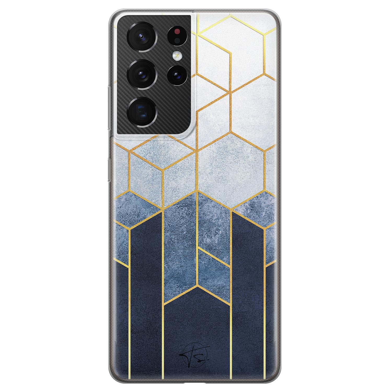 Telefoonhoesje Store Samsung Galaxy S21 Ultra siliconen hoesje - Geometrisch fade art