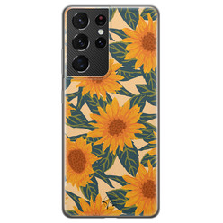 Telefoonhoesje Store Samsung Galaxy S21 Ultra siliconen hoesje - Zonnebloemen