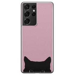 Telefoonhoesje Store Samsung Galaxy S21 Ultra siliconen hoesje - Zwarte kat