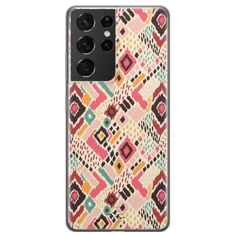 Telefoonhoesje Store Samsung Galaxy S21 Ultra siliconen hoesje - Boho vibes