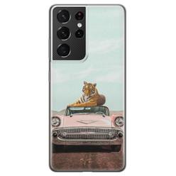 ELLECHIQ Samsung Galaxy S21 Ultra siliconen hoesje - Chill tijger