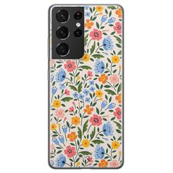 Telefoonhoesje Store Samsung Galaxy S21 Ultra siliconen hoesje - Romantische bloemen