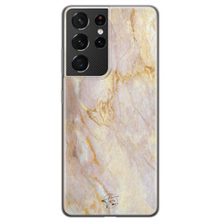ELLECHIQ Samsung Galaxy S21 Ultra siliconen hoesje - Stay Golden Marble