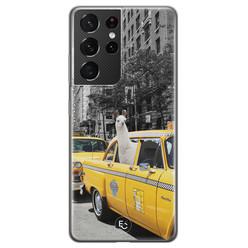 ELLECHIQ Samsung Galaxy S21 Ultra siliconen hoesje - Lama in taxi