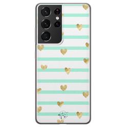 Telefoonhoesje Store Samsung Galaxy S21 Ultra siliconen hoesje - Mint hartjes
