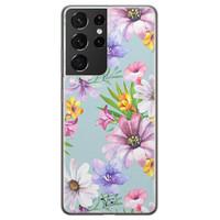 Telefoonhoesje Store Samsung Galaxy S21 Ultra siliconen hoesje - Mint bloemen
