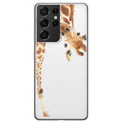 Leuke Telefoonhoesjes Samsung Galaxy S21 Ultra siliconen hoesje - Giraffe peekaboo