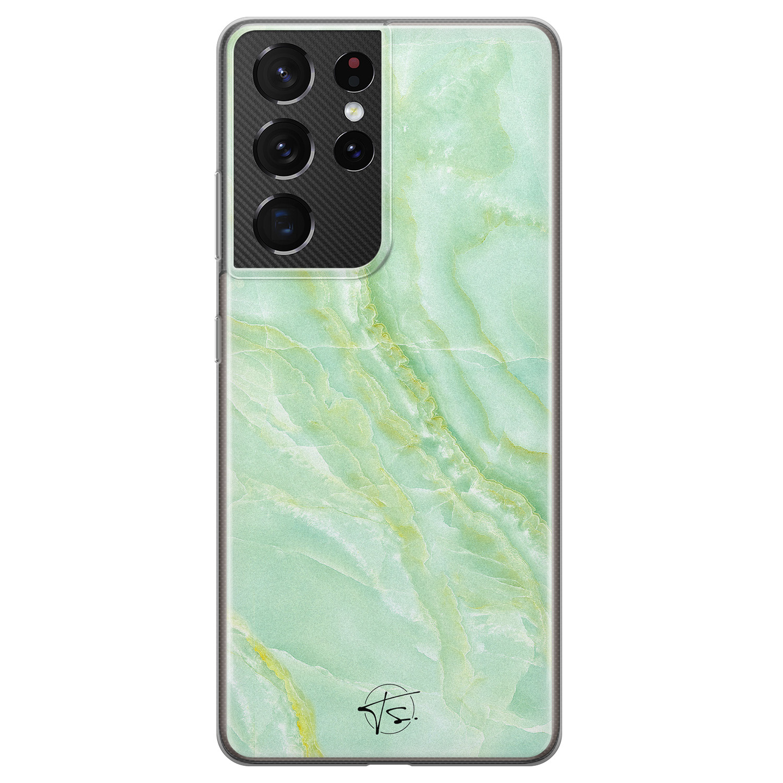 Telefoonhoesje Store Samsung Galaxy S21 Ultra siliconen hoesje - Marmer Limegroen
