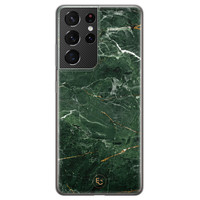 ELLECHIQ Samsung Galaxy S21 Ultra siliconen hoesje - Marble jade green